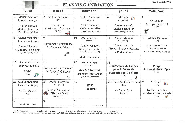 Planning Animation Octobre