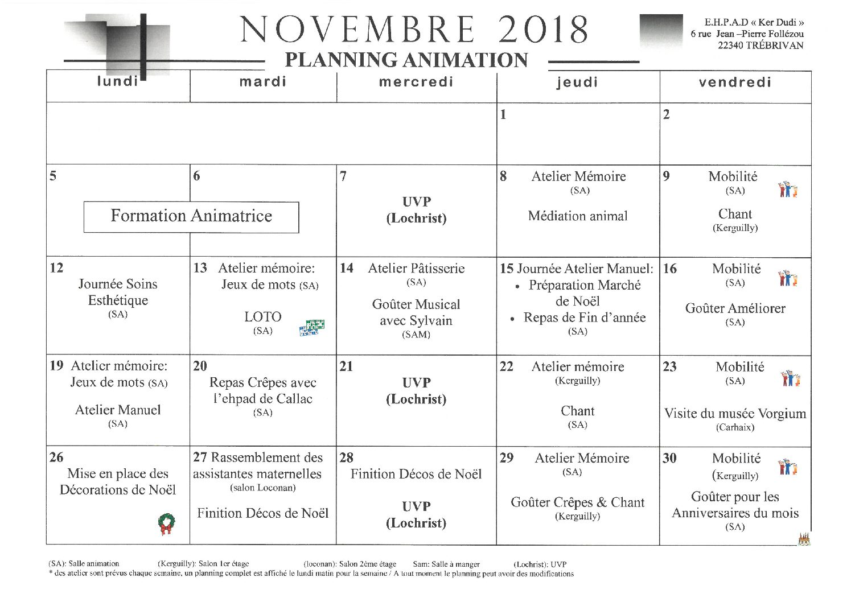 Planning Animation Novembre 2018