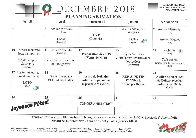 Planning activités Décembre