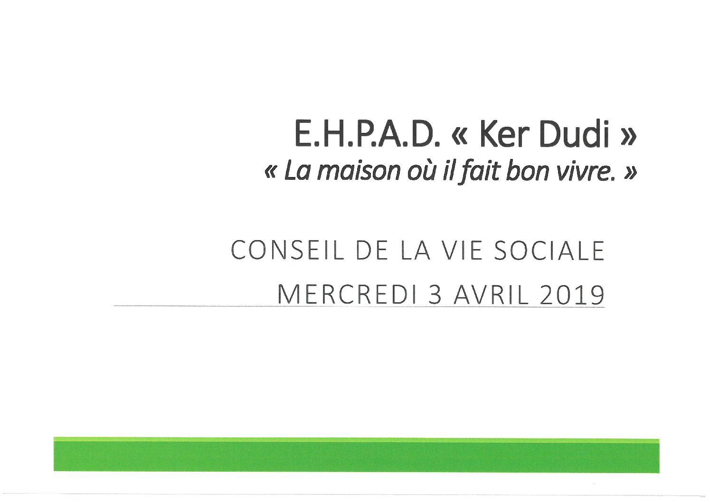 Conseil de la Vie Sociale 03 avril 2019