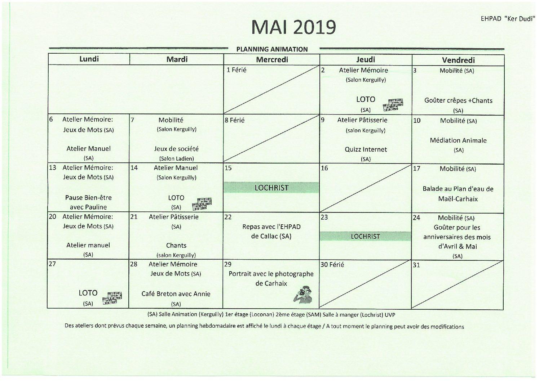 Planning animation mai 2019