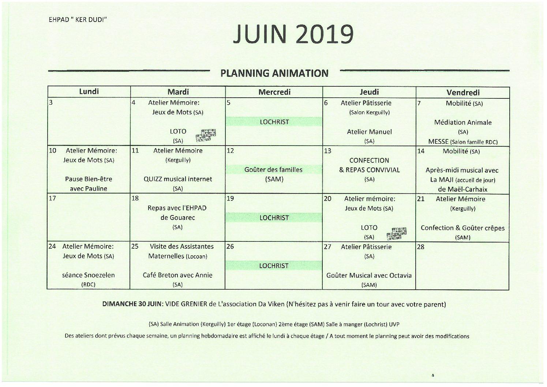 Activités Juin 2019
