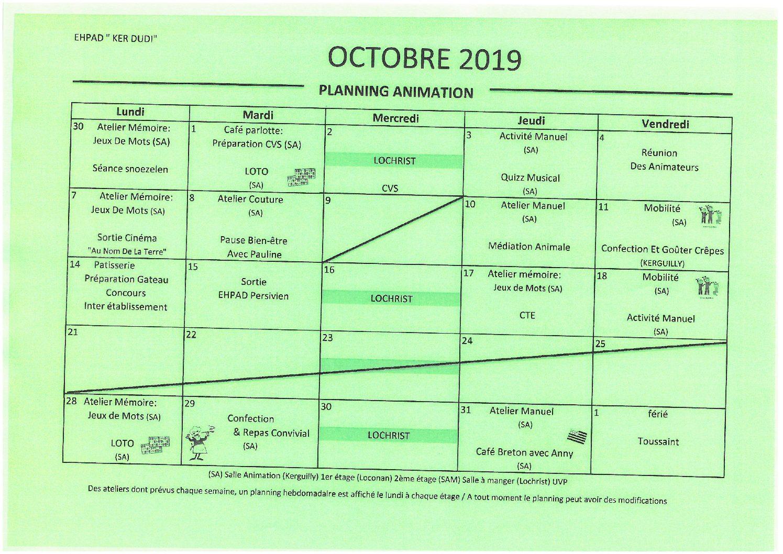 Planning animation octobre 2019