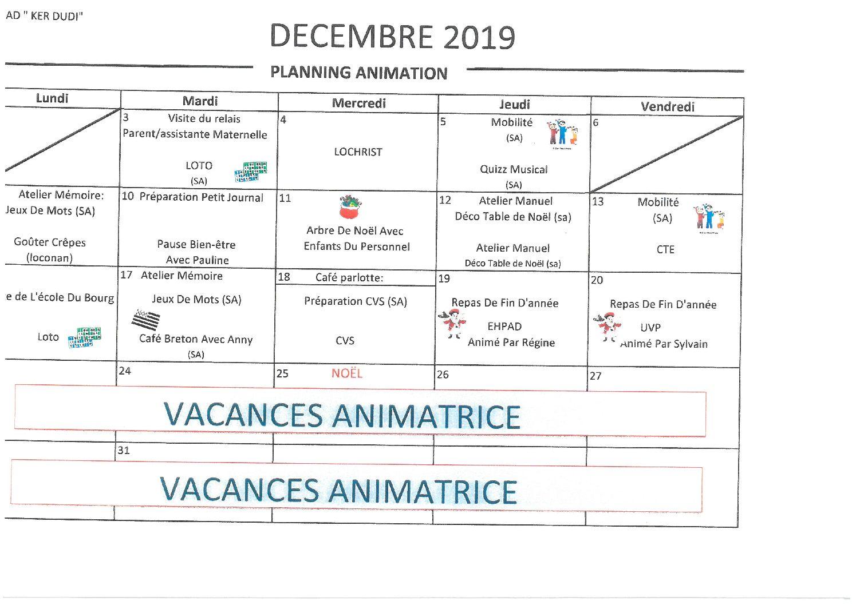 Planning animation décembre 2019