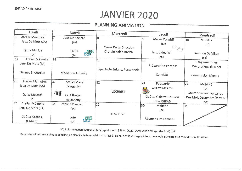 Animations Janvier 2020