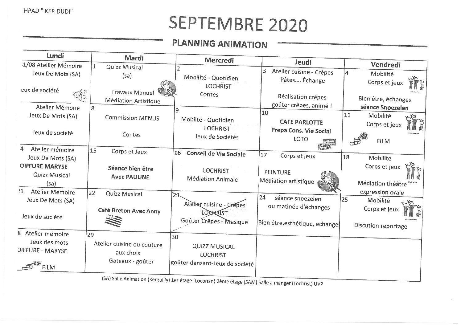 Planning Animations Septembre 2020