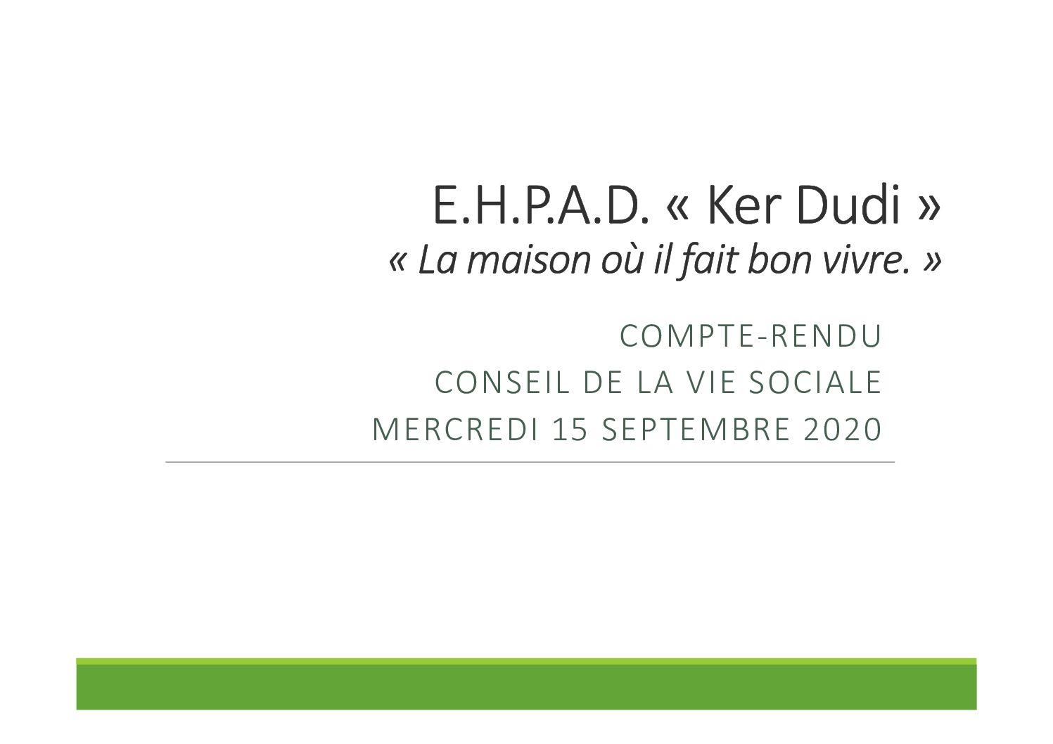 Compte rendu Conseil de la Vie Sociale du 15/09/2020