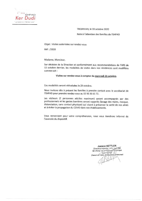 21/10/2020 : Visites autorisées sur rendez-vous