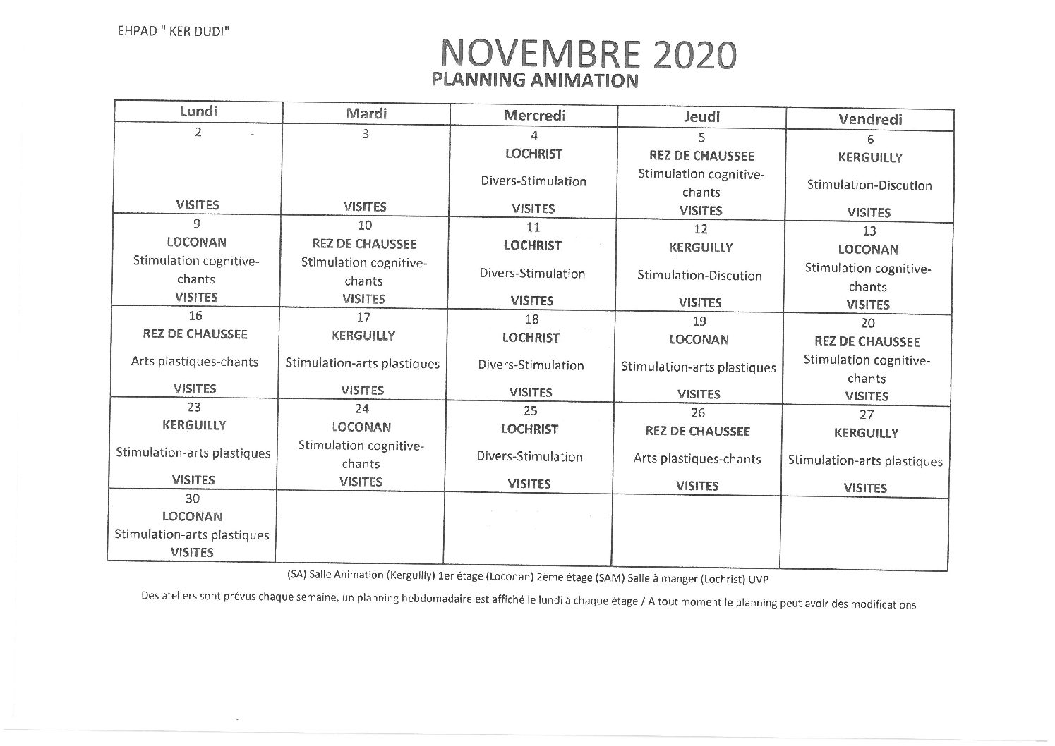 Planning Animations Novembre 2020