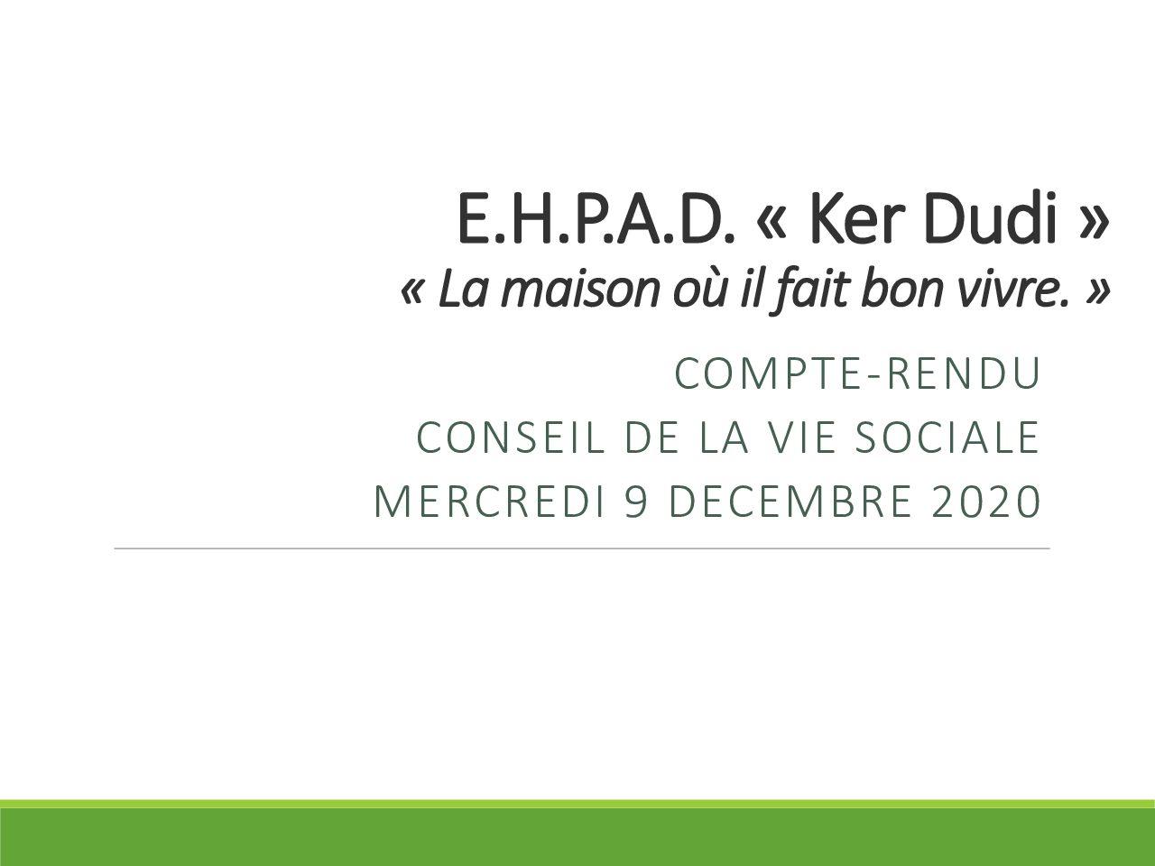 Compte-rendu Conseil de la Vie Sociale du 09/12/2020