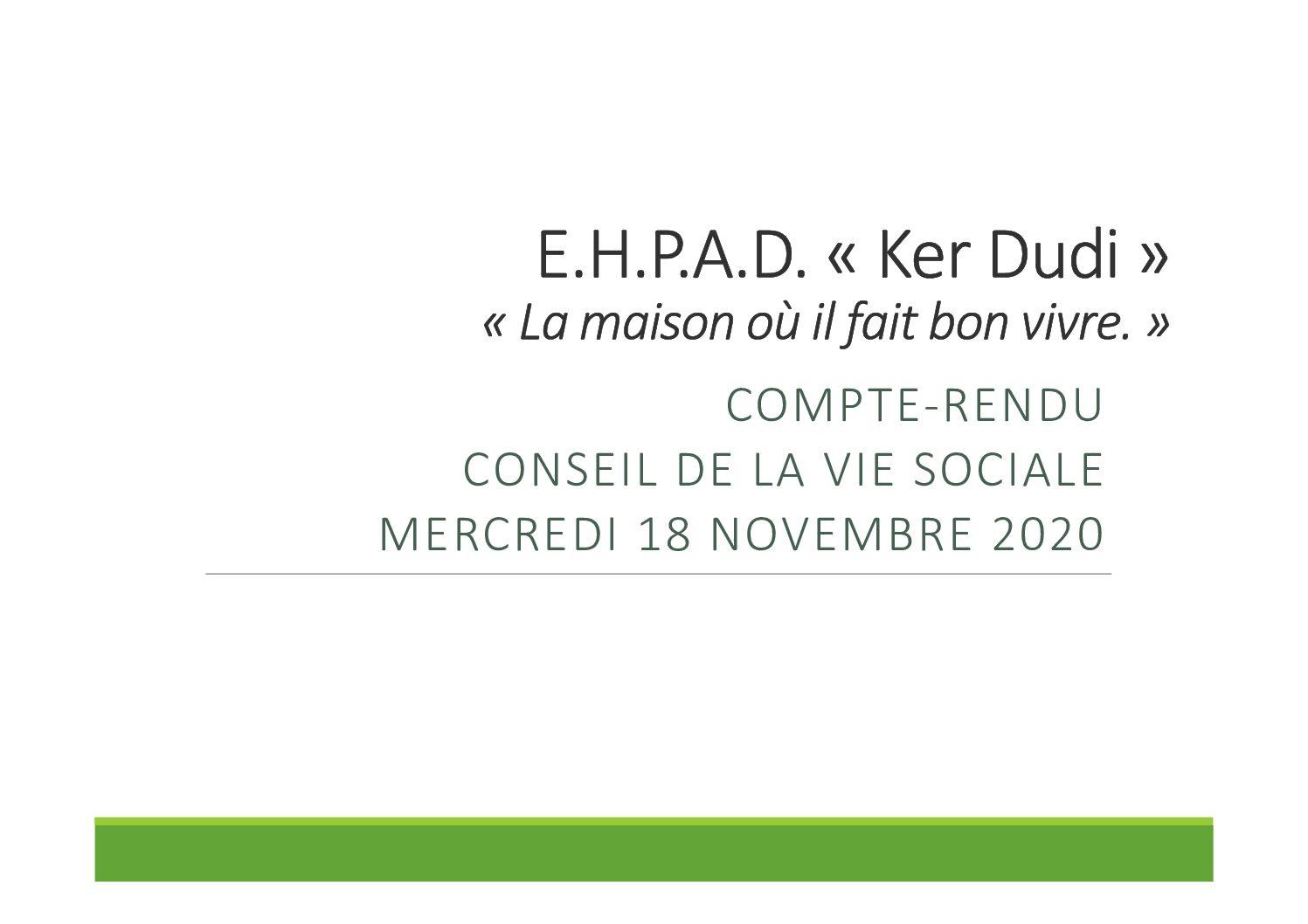 Compte rendu Conseil de la Vie Sociale du 18/11/2020