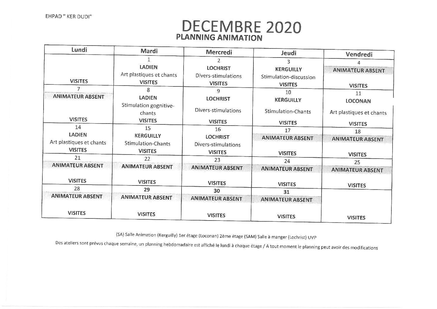 Planning animation Décembre 2020