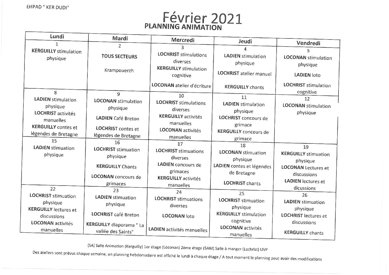Planning animation Février 2021