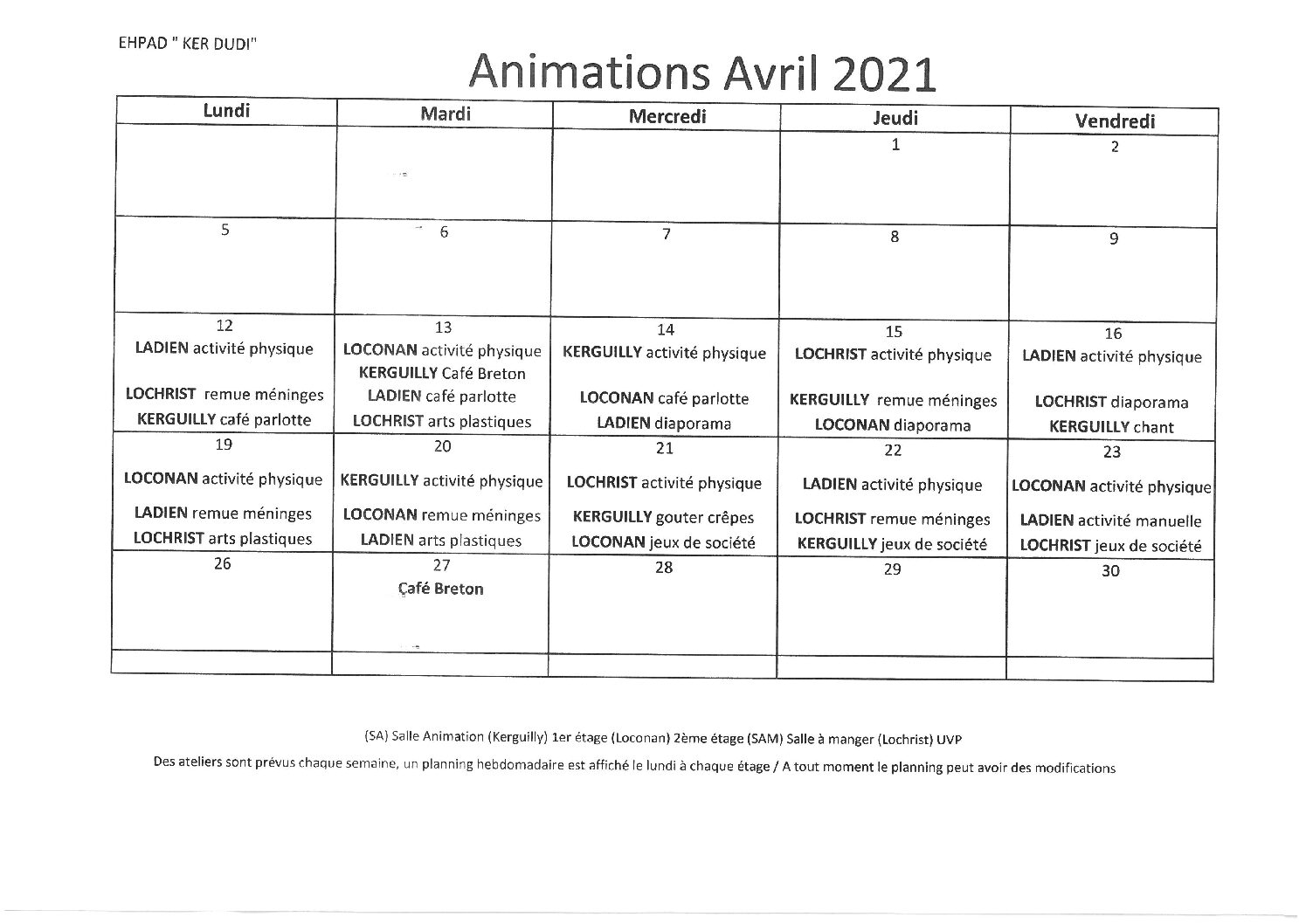 Animations Avril 2021