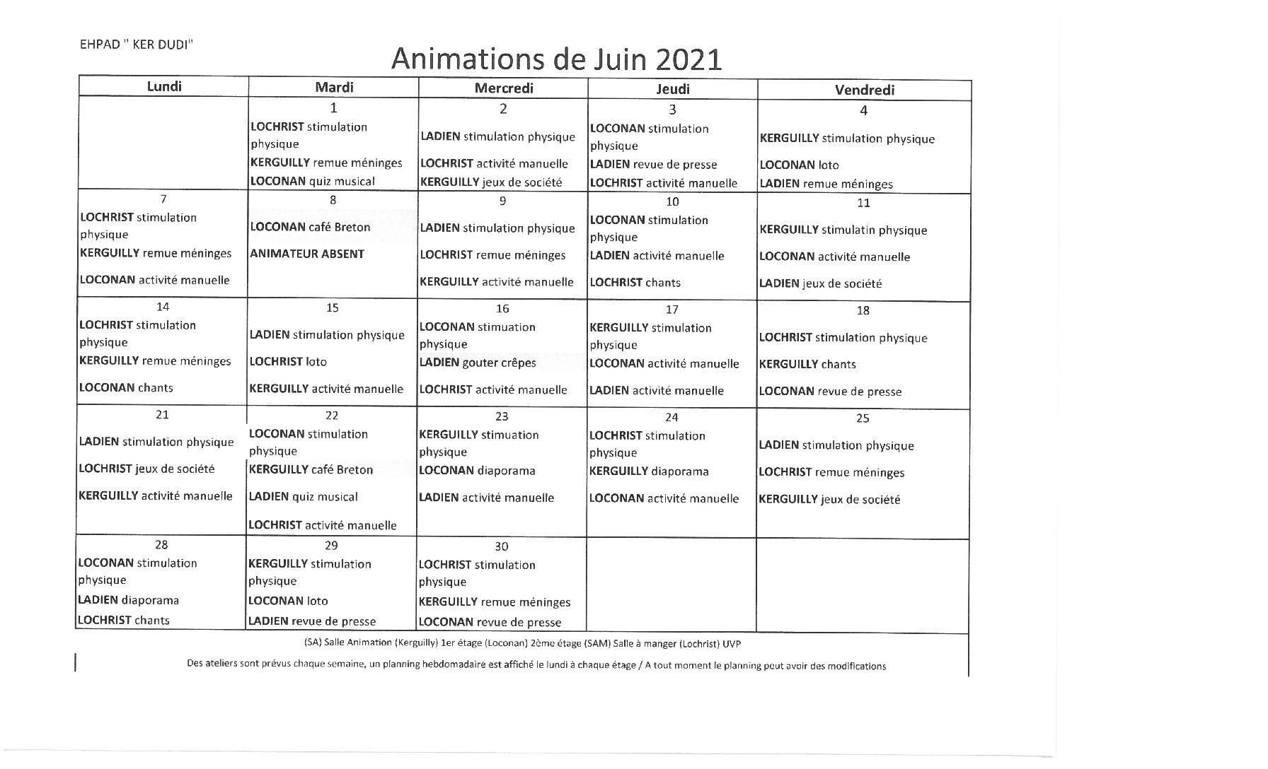 Planning animations Juin 2021