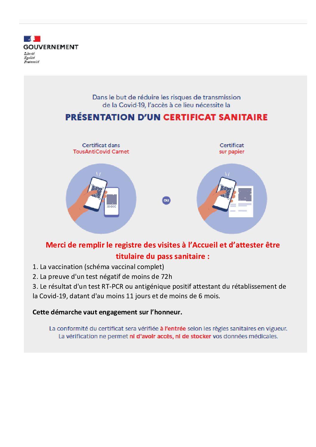 Affiche Certificat Sanitaire
