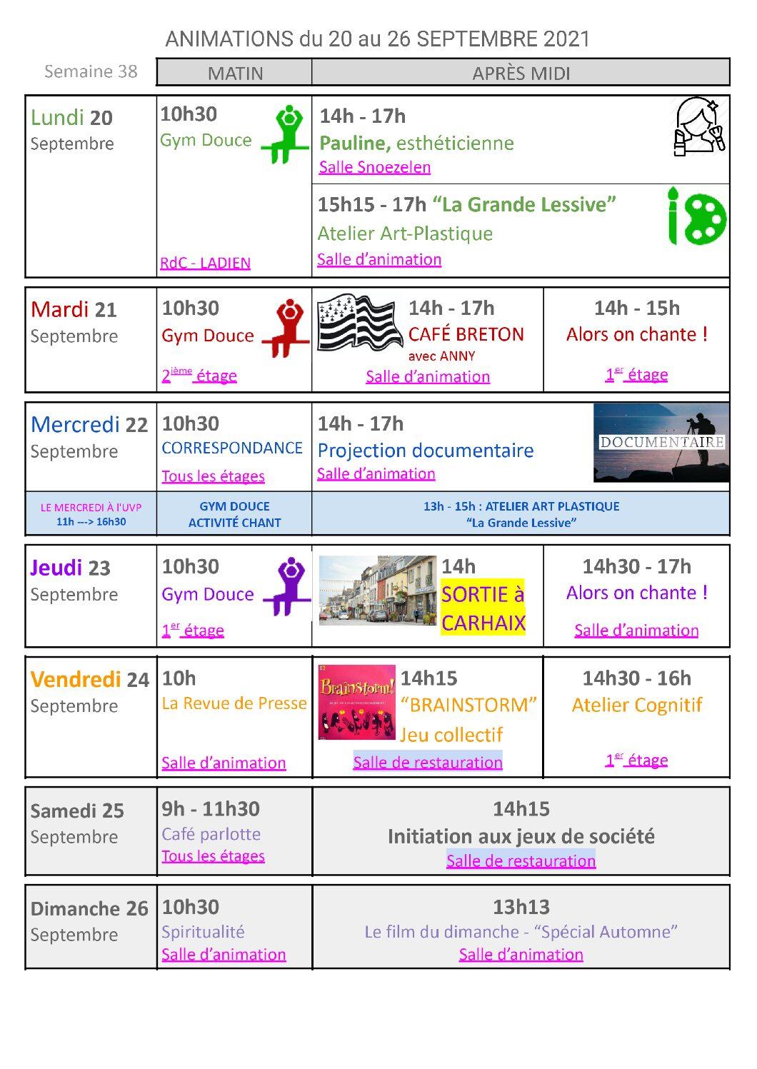Planning activités du 20 au 26 septembre