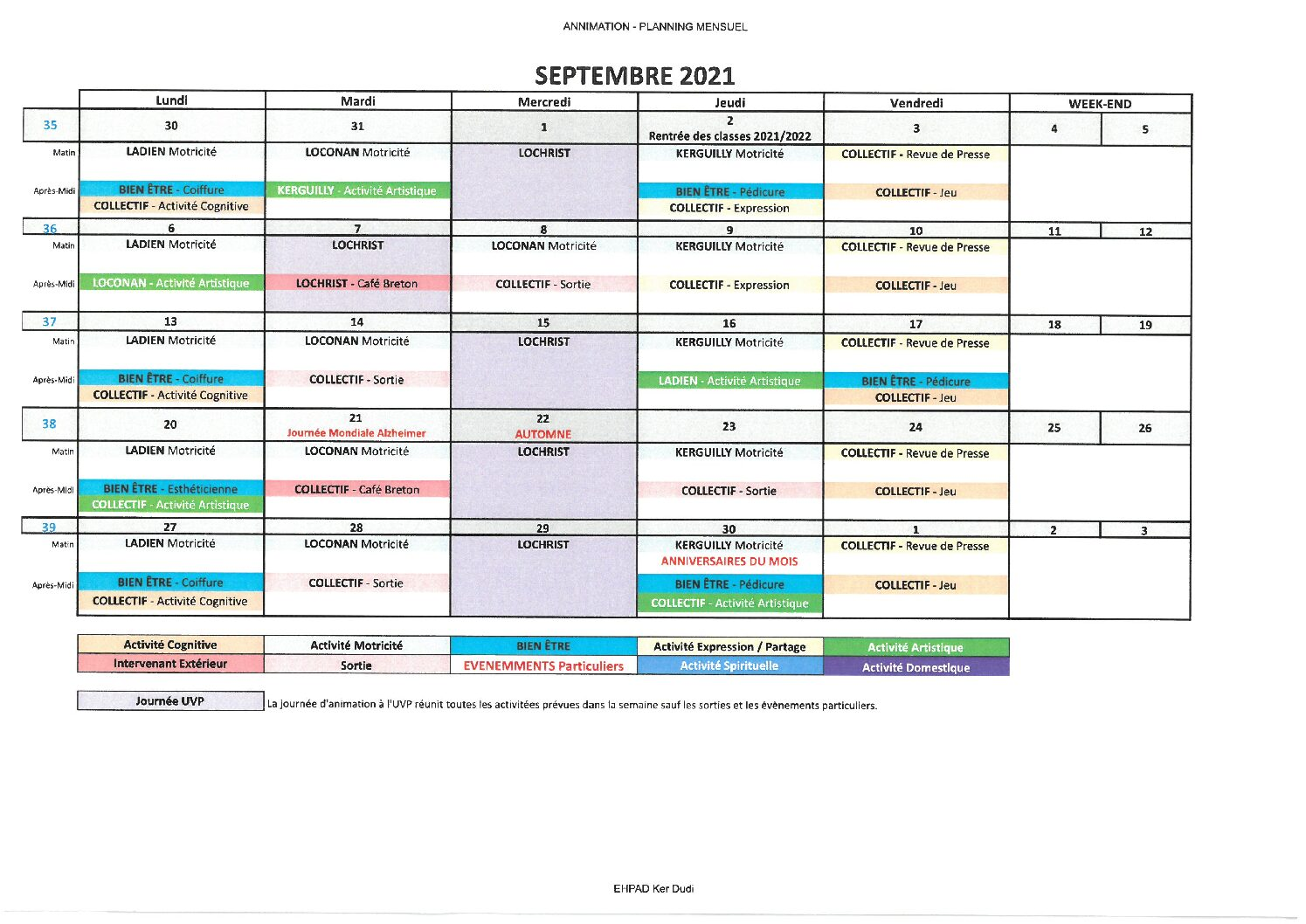 Planning Animations Septembre